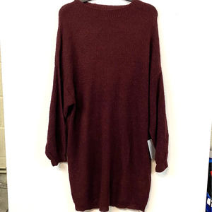 Solutions Red Knit Long Sleeve Sweater Mini Dress